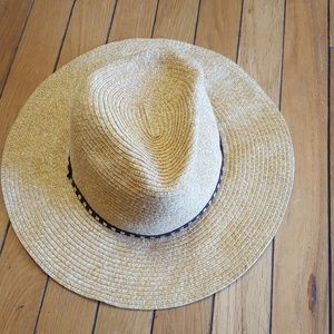 Accessories - Straw floppy hat, leather band with brass accents